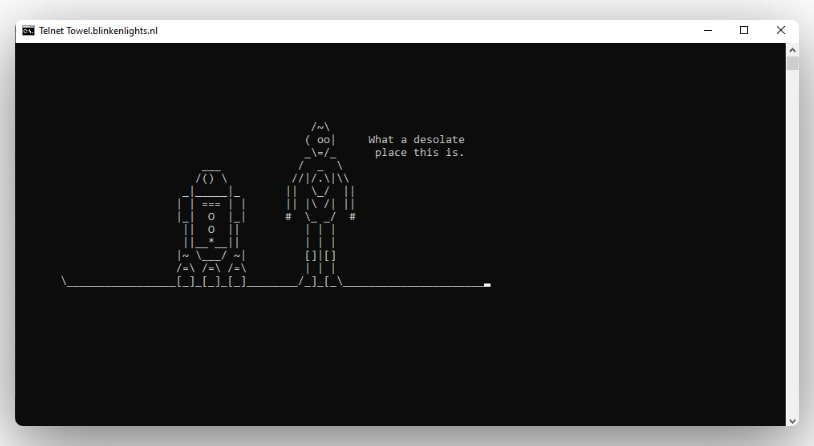 Star wars movies running as ASCII characters inside the command prompt.