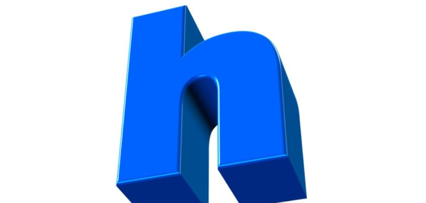 A 3D small letter 'h' in blue color tilted a bit