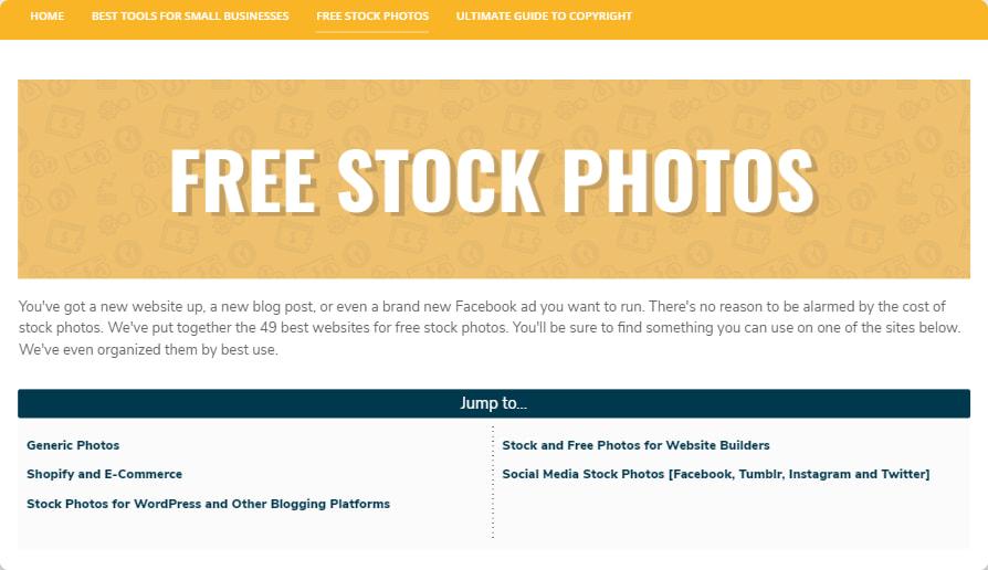 Website's landing page screenshot