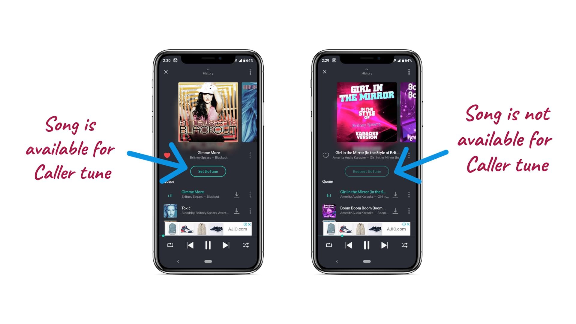 Picture describing when the button of ''Set as Jiotune'' is faded, inside the JioSaavn app, the song is not available for caller tune. And, when it is bright inside the JioSaavn app, the song is available to set as caller tune for your Jio number.