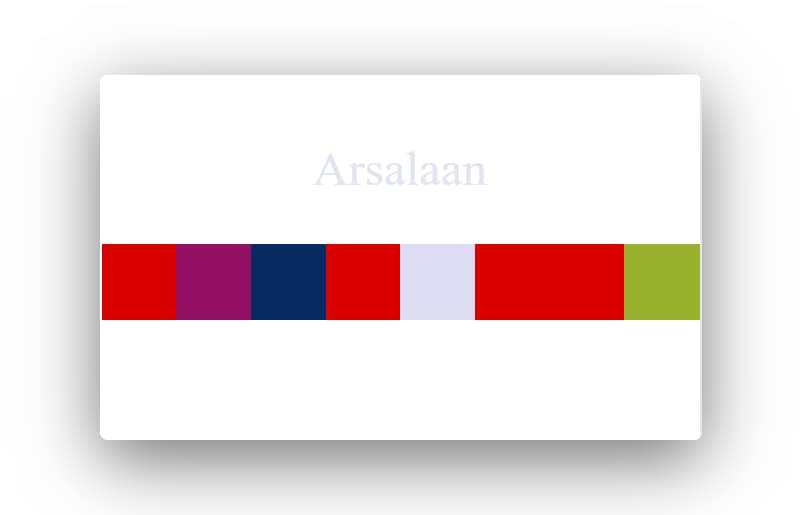 My name 'Arsalaan' color code sample.