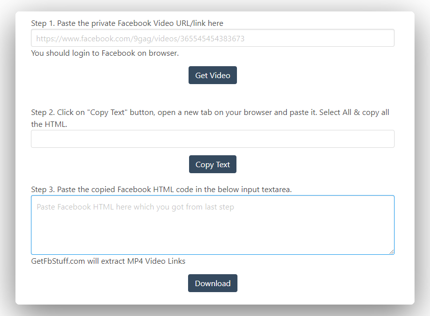 getfbstuff welcome page to download private facebook videos