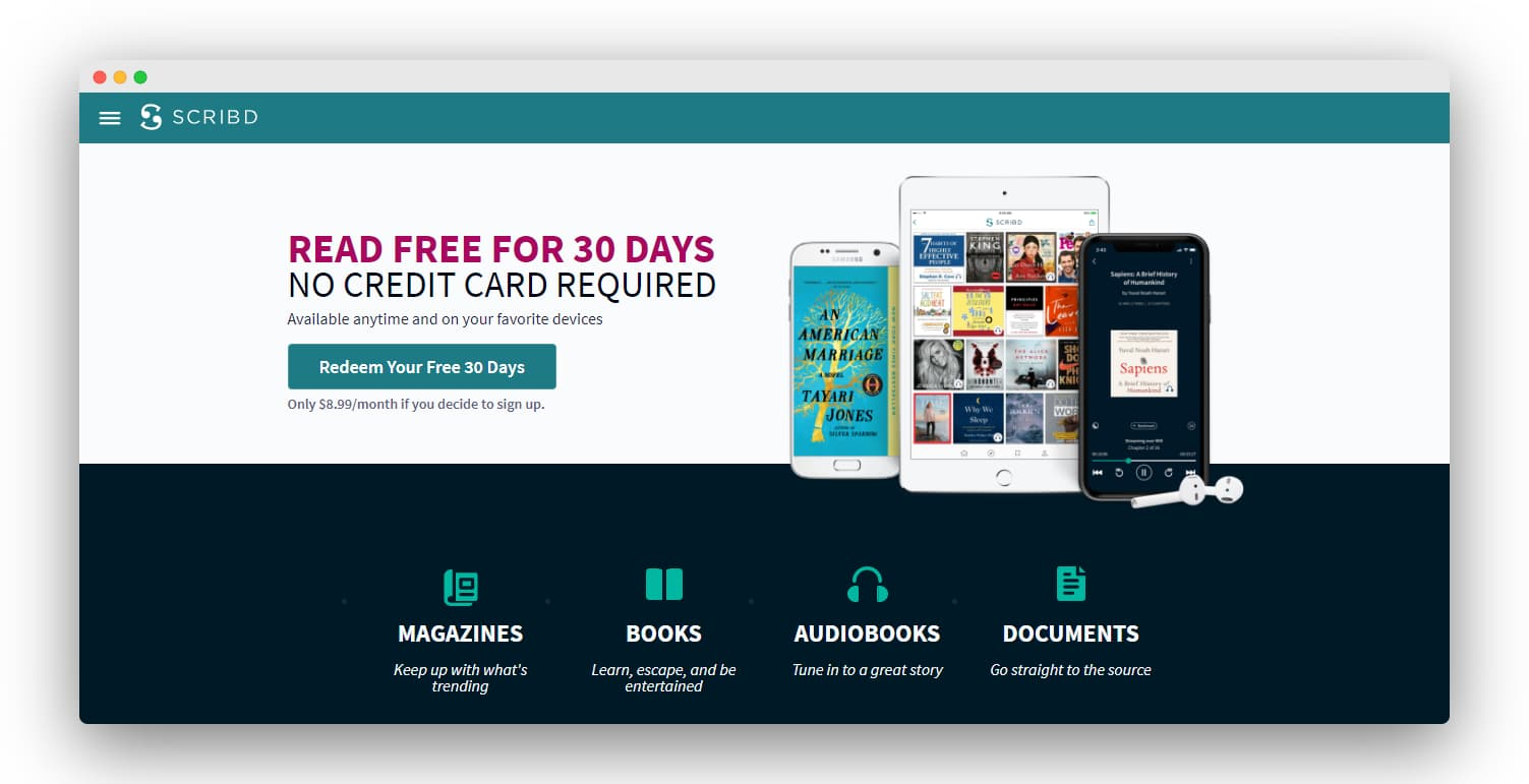 Scribd 1-month free subscription landing page